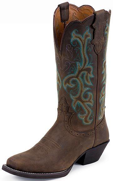 "Women's Justin 12"" Sorrel Apache Wide Square Toe Boots $128.00"