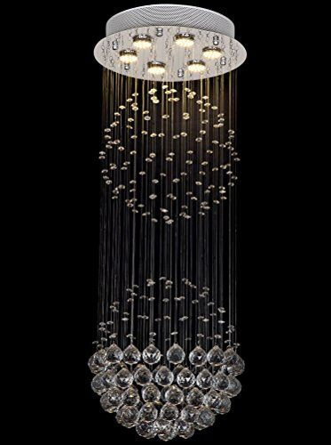 7PM Modern Staircase Double Spiral LED Crystal Chandelier