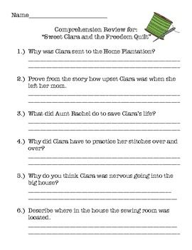 Sweet Clara And The Freedom Quilt Unit Comprehension Writing And More Freedom Quilt Comprehension Sweet Clara