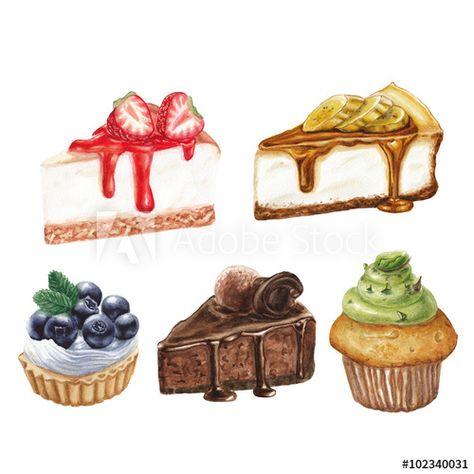 Watercolor Cake Set Illyustracii Edy Akvarelnye Svadebnye