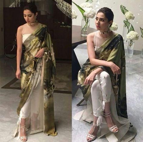 mahira khan in trouser saree