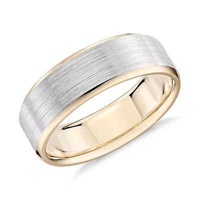 Double Milgrain Comfort Fit Wedding Ring In 14k White And Yellow Gold 6mm Blue Nile Titanium Wedding Rings Mens Wedding Rings Mens Gold Wedding Band