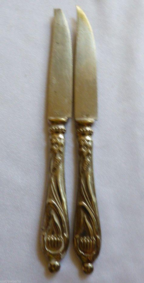 VTG 1890 D. 170665 Stahl-Bronce Germany Art Nouveau fruit knife set of 2 - Flatware & Silverware