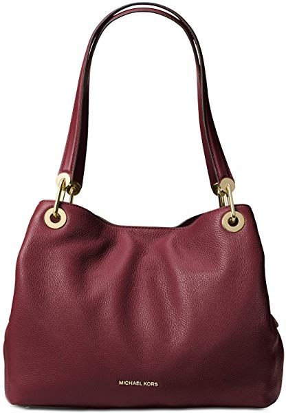 7a012559c1fba Michael Kors Women's Raven Large Leather Shoulder Bag (Oxblood ...