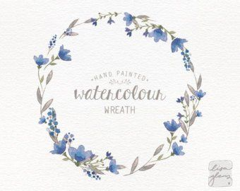 Watercolor Wreath Painted Floral Wreath Clipart Wedding Etsy