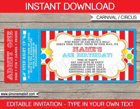Free Printable Carnival Ticket Invitations  LoganS St Birthday