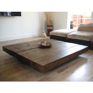 Big Square Wood Coffee Table Di 2020 Meja Kayu Meja Piknik Mebel