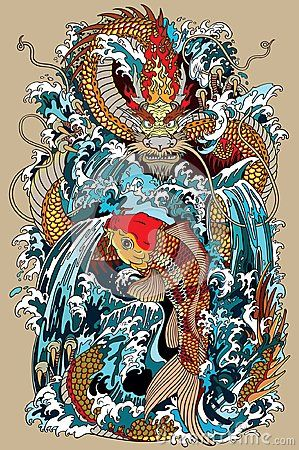 Golden Dragon And Koi Carp Fish Which Is Trying To Reach The Top Of The Waterfall Tattoo Style Vector Illust Dragon Koi Fish Dragon Illustration Japanese Myth