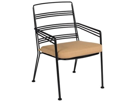 Woodard Madison Wrought Iron Dining Arm Chair With Cushion