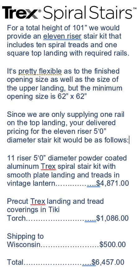 Really Helpful Custom Quote From Trex Spiral Stairs These