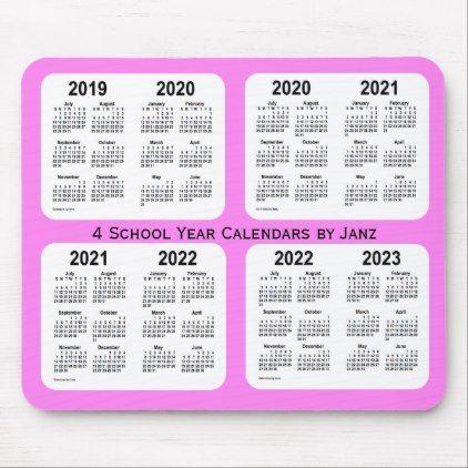 Personalized Calendar 2022.2019 2022 Violet 4 Year School Calendar By Janz Mouse Pad Calendars 2019 Personalized Calendar School Calendar Calendar Custom Calendar