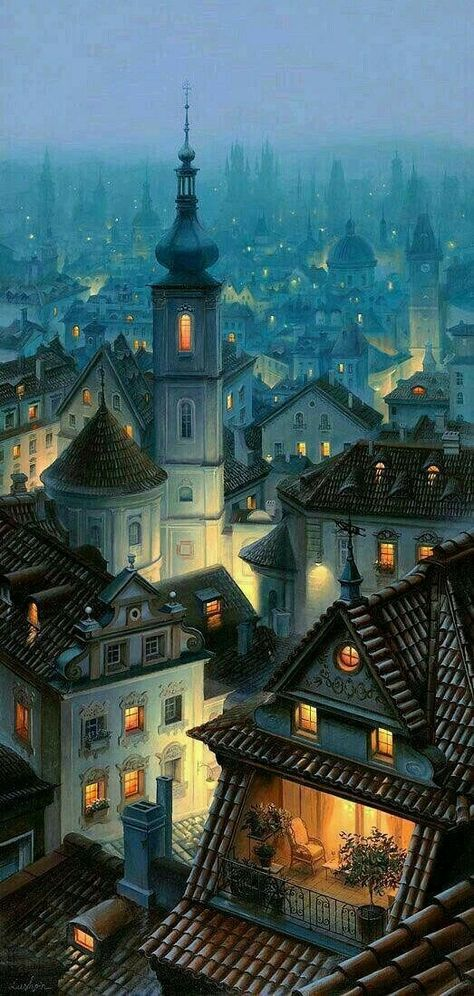 Town at night illustration art #drawing #painting