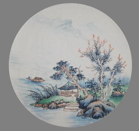 Excited to share this item from my #etsy shop: Original Chinese Watercolor painting,Brush painting, hand painted Chinese art,wall decor, unframed wall hanging, landscape painting,R-46.5cm