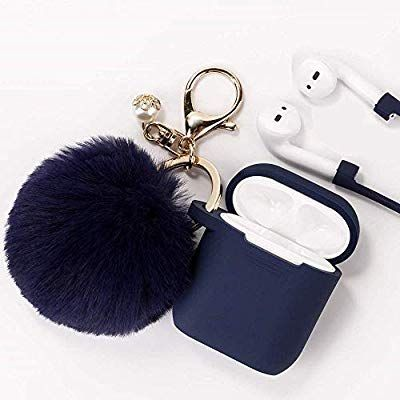 Black Earbuds Charging Case with Keychain Protective TPU Cover Air Pods Accessories AirPods Case for Airpods 2 /& Airpods 1