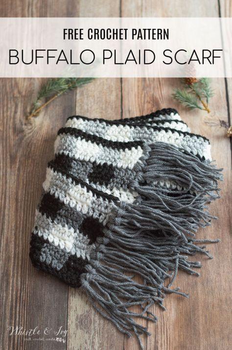 Crochet Buffalo Plaid Scarf - Free Crochet Pattern