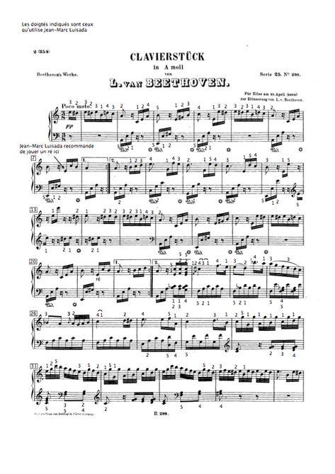 Partition De La Lettre A Elise De Beethoven Avec Les Doigtes De Jean Marc Luisada Extrait Du Cours De Pia Partitions De Piano La Lecon De Piano Cours De Piano