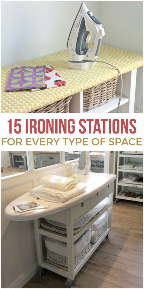 may never love ironing, but these ironing station ideas will give you a prettier and more practical space to work!You may never love ironing, but these ironing station ideas will give you a prettier and more practical space to work! Craft Room Storage, Sewing Room Storage, Sewing Room Organization, My Sewing Room, Organizing Ideas, Sewing Room Decor, Ikea Sewing Rooms, Fabric Storage, Sewing Office Room