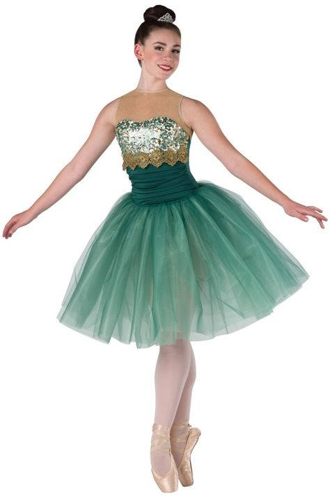 Style# 17348 EMERALDS Hunter spandex leotard with gold glitter mesh yoke, ivory spandex insert and mint/gold sequin on mesh overlay. Attached hunter tulle over mint glimmer chiffon tutu.