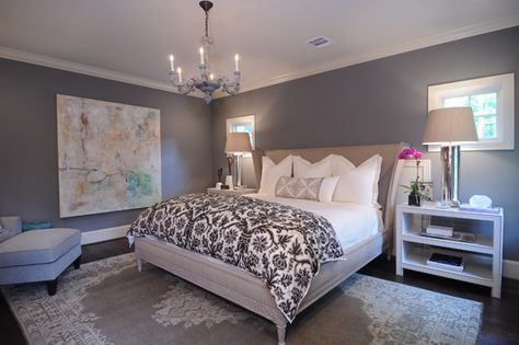 """BM HC-168 Chelsea Gray because it's a warm, sophisticated gray with just the right amount of brown in it. Paint it on the walls in an eggshell finish for a sexy and dramatic bedroom. I've also used it on a ceiling paired with HC-170 Stonington Gray on the walls. Looks fabulous with pops of bright yellow or fuschia!"""""""