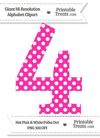 Hot Pink Polka Dot Number 4 Clipart Pink Polka Dots Polka Dot Printable Clip Art
