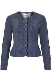 Damen Trachten Strickjacke mit Zopfmuster jeansblau in 2020
