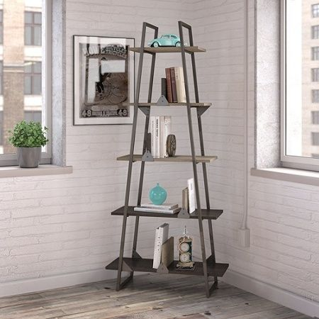 Bush Furniture Refinery A Frame Bookshelf Rustic Gray Charred Wood Standard Delivery Item 285476 A Frame Bookshelf Bush Furniture Bookshelf Design