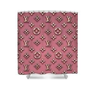 Louis Vuitton Inspired Multicolour Print Shower Curtain For Sale