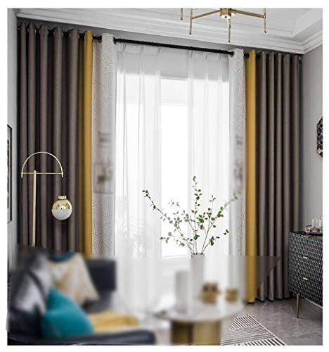 Hunol Blackout Curtains Polyester Panels Color Matching Blackout Thermal Insulated For Bedroom Living Room Bay Window 7 In 2020 Bay Window Blackout Curtains Curtains