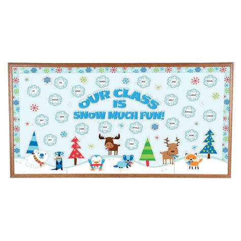 Transform any display space into a winter wonderland! Snow much fun when added to seasonal classroom décor, this eye-catching bulletin board set features . December Bulletin Boards, Christmas Bulletin Boards, Birthday Bulletin Boards, Winter Bulletin Boards, Classroom Bulletin Boards, Classroom Themes, Seasonal Classrooms, Infant Bulletin Board, Newsletter Template Free