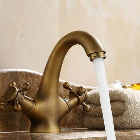 Double Handle Crystal Gold Bathroom Basin Tap Sink Faucet Water