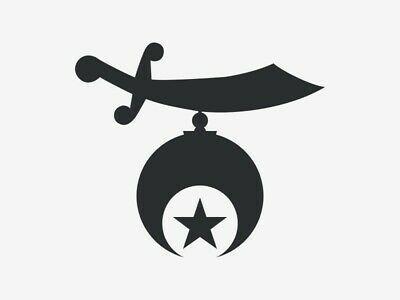 WHITE Vinyl Decal Shriner Emblem
