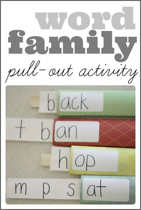 Word Family Pull-Out Activity (using empty cardboard rolls)