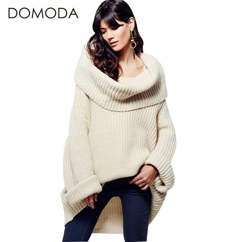 b6f31f58d9 DOMODA Women Sweater Long Sleeve Loose Elegant Streetwear High Cowl  Pullover Autumn Winter Asymmetrical Knitted Casual Sweater  Haoduoyi   sweaters ...