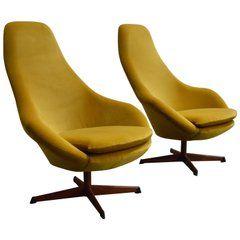 Brilliant Pair Of Midcentury Scandinavian Modern Swivel Chairs In Ibusinesslaw Wood Chair Design Ideas Ibusinesslaworg