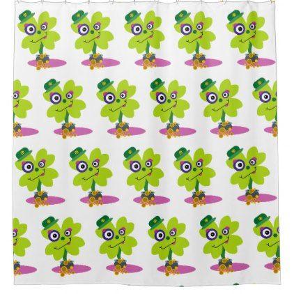Green St Patrick S Day Cartoon Clover Shamrock Shower Curtain