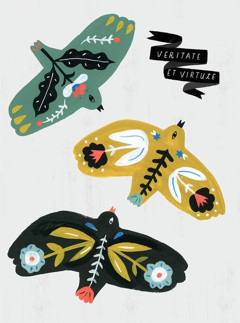 Birds, Veritate Et Virtute, With Truth & Courage /Folk Science Series by Sarah Walsh - Birds, Veritate Et Virtute, With Truth & Courage /Folk Science Series by Sarah Walsh Art Prints, Folk Art, Illustration, Drawings, Whimsical Art Prints, Whimsical Art, Animal Illustration, Bird Illustration, Bird Art
