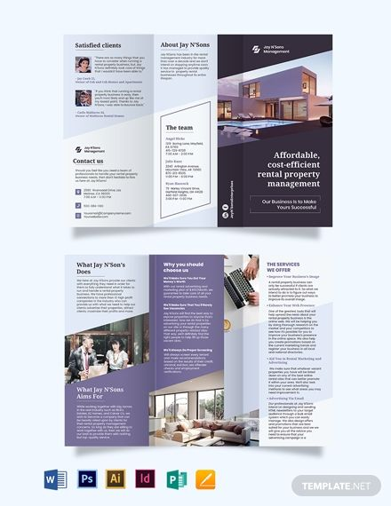 Rental Management Tri Fold Brochure Trifold Brochure Brochure