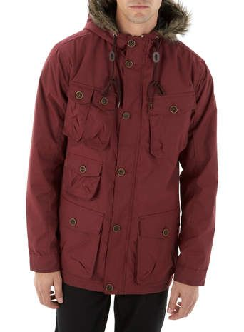 Mens Burgundy Fur Hooded Parka Coat, Red | Men's Winter Coats ...
