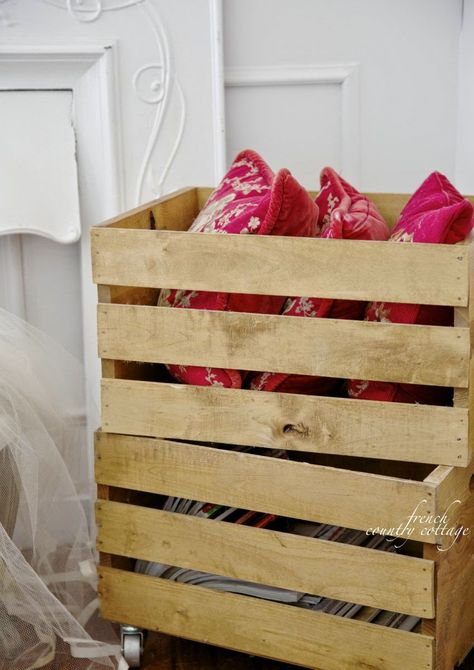 It should not surprise anyone that we need more record storage.  FRENCH COUNTRY COTTAGE: Pine Storage Crates- DIY