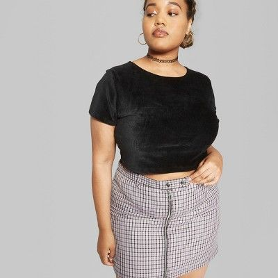Size 2X Wild Fable Women/'s Plus Size Plaid Mini Skirt with Zippers Violet