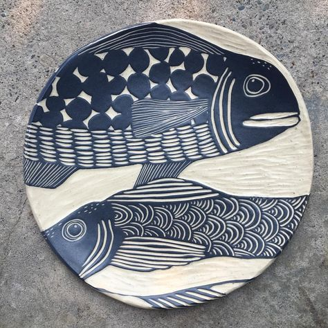 I've set aside this morning to just carving, listening to classical guitar music. so peaceful ❤️ May you find calm in the storm. Clay Fish, Ceramic Fish, Ceramic Spoons, Ceramic Clay, Ceramic Painting, Ceramic Plates, Pottery Bowls, Ceramic Pottery, Pottery Art