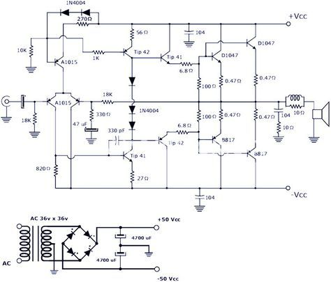 This Is A 200w Power Amplifier Circuit Project The Circuit Features High Power Good Definition And Very Power Amplifiers Audio Amplifier Electronics Circuit