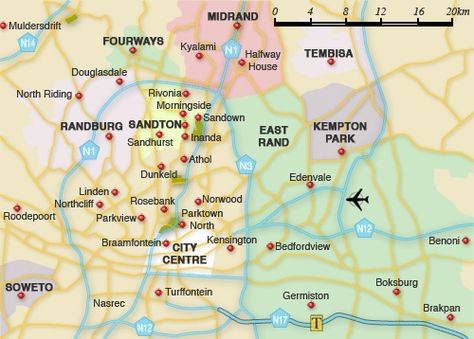 Awesome JohannesburgEast Rand Map Tourist Attractions Tours - Vosloorus map