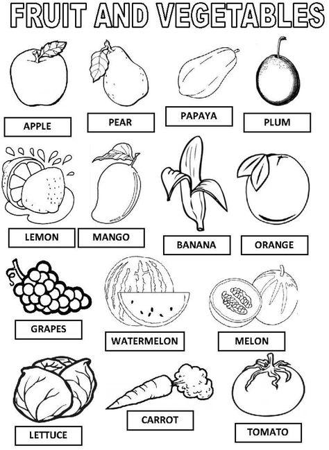 2 Sinif Ingilizce Fruits Meyve Ve Sebzeler Calisma Kagidi Em