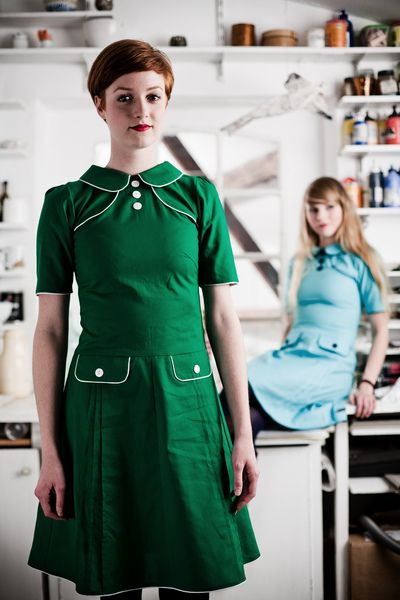 Knee Length Dresses Grun Weisses 60er Jahre Baumwollkleid A