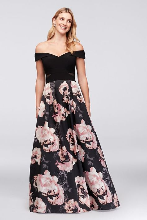 ec8bd7682f0 Off-the-Shoulder Floral Jersey and Satin Ball Gown Style 1173X ...