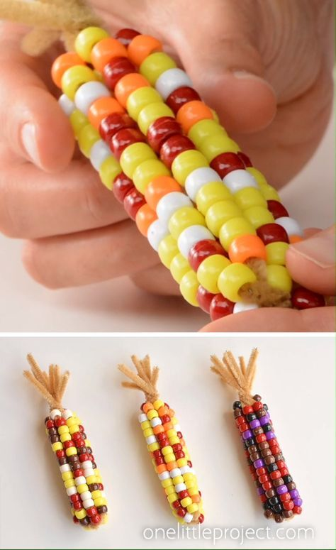 Beaded pipe cleaner indian corn 4 This beaded pipe cleaner Indi.Beaded pipe cleaner indian corn 4 This beaded pipe cleaner Indian corn craft is SO FUN! And it's so simple to make. Fall Crafts For Kids, Toddler Crafts, Preschool Crafts, Art For Kids, Winter Craft, Summer Crafts, Thanksgiving Crafts For Kindergarten, Baby Fall Crafts, Fall Art Preschool