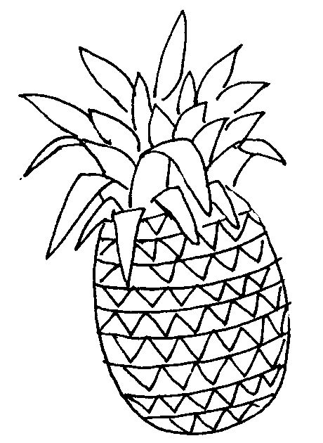 Fruit Clipart Black And White Cute Pineapple Coloring Pages Rose Coloring Pages