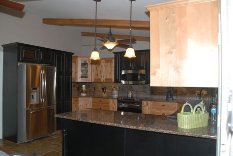 Knotty Alder, mission style cabinets with accent cabinets of ...