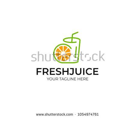 Orange juice logo template  Fruit slice and juice glass vector